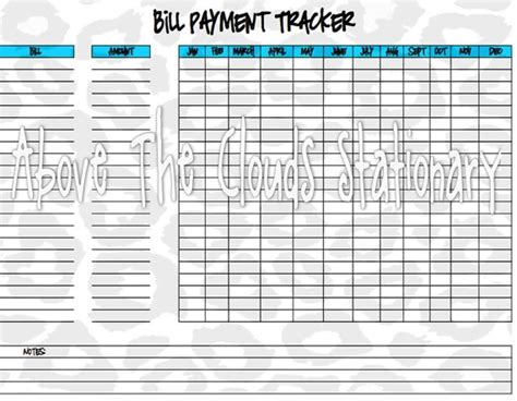 free printable monthly bill payment sheet search results