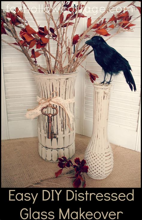 easy diy fall craft painted distressed glass vase fox