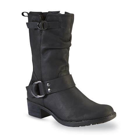 wide moto boots hush puppies women s emelee overton black leather mid calf