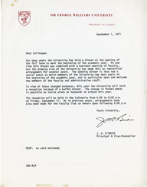 appointment letter vice chancellor letter from w o brien principal and vice chancellor