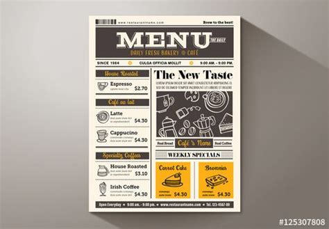28 Best Graphic Design Template Images On Pinterest Graphic Design Templates Design Layouts Newspaper Style Menu Template