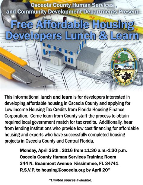Section 8 Osceola County by Free Affordable Housing Developers Lunch Learn