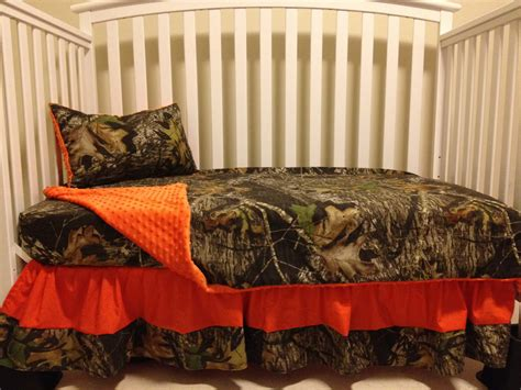 orange camo bed set camo 4 piece set made with mossy oak fabric and orange minky
