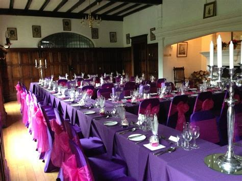 purple chair covers with hot pink sashes wedding ideas