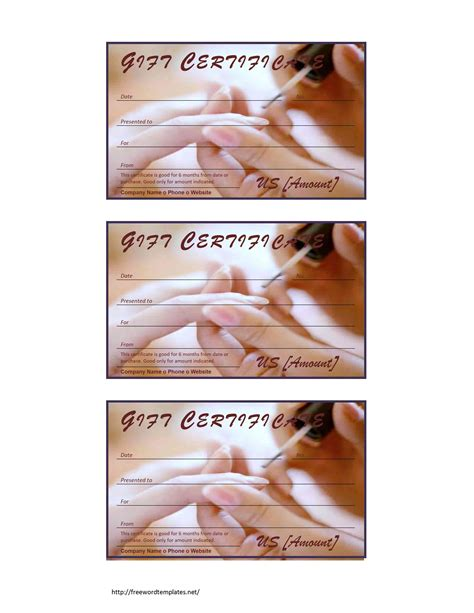 free gift certificate template for nail salon images