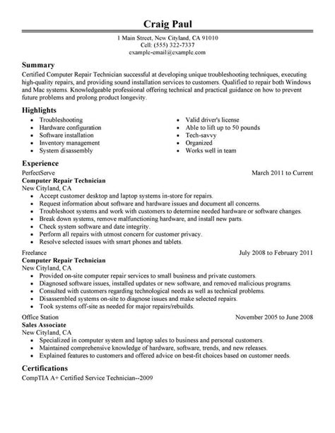 Technology Resume Template by Best Computer Repair Technician Resume Exle Livecareer