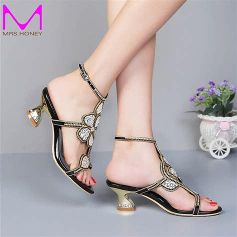 kitten heel gold rhinestone wedding sandals slingback comfortable shoes chunky