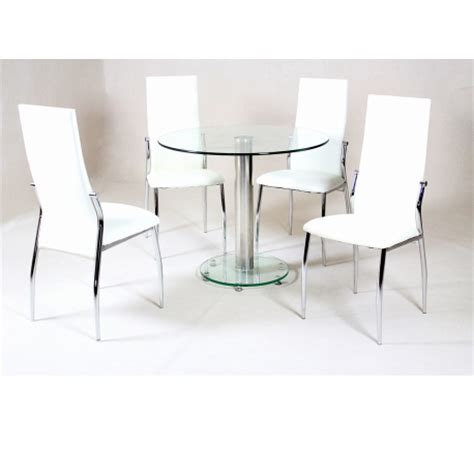 Transparent Dining Chairs Alonza Clear Glass Dining Set Forever Furnishings Home And Garden Furnishings