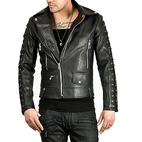 Rider Jacket 1 hugme fashion new genuine leather black slim rider jacket jk170