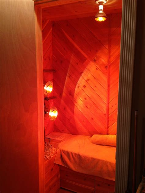 Closet Sauna basement closet turned to near infrared sauna room