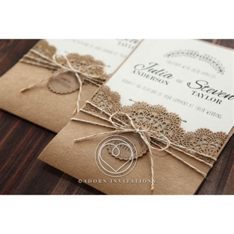 lace wedding invitations with pockets country style invitation with lace and twine pocket card