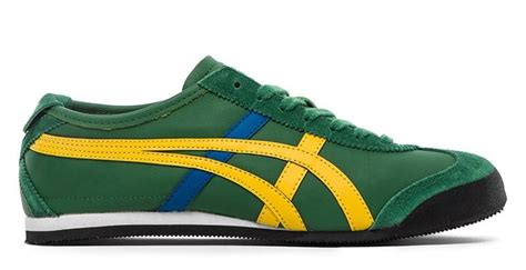 Po Onitsuka Tiger Mexico 66 Leather Yellow Green onitsuka tiger mexico 66 hl7c2 8504 green yellow blue leather suede ebay
