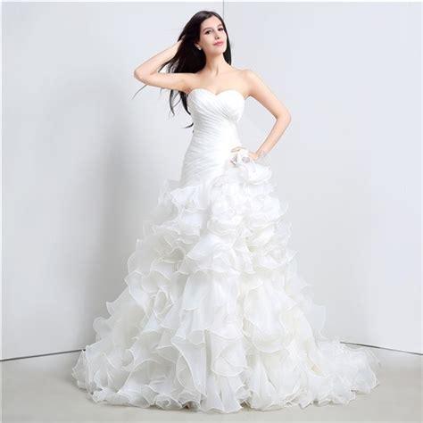 romantic trumpet strapless corset organza ruffle wedding
