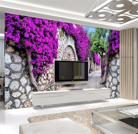purple flower wall murals get cheap purple wallpapers aliexpress alibaba
