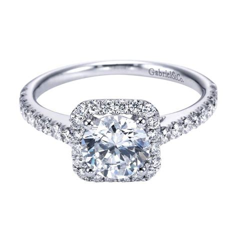 gabriel co engagement rings square halo 14k