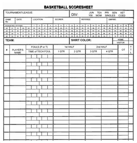 basketball score sheet template excel sle basketball score sheet 9 documents in pdf word