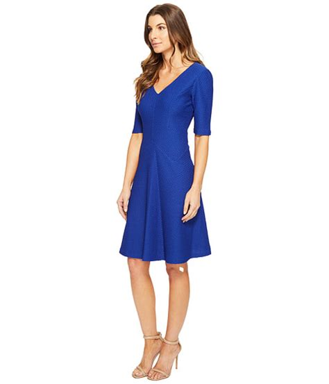 times sleeve fit flare dress blue 6pm