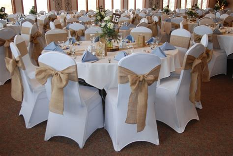 burlap runner and chair sashes with white spandex chair