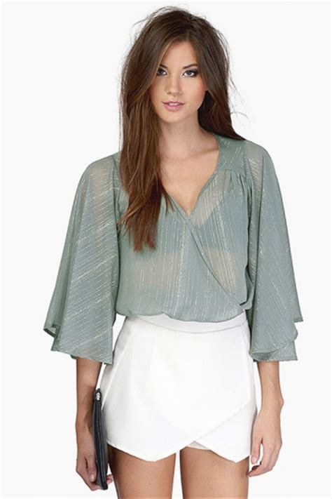 womens v neck see through flare sleeve crop blouse gray pink