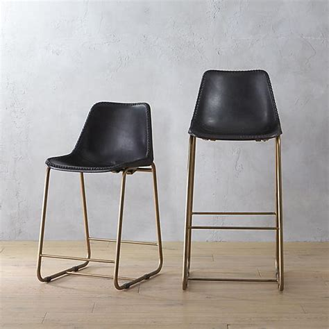 Leather Counter Bar Stools by Curved Leather Bar Counter Stool Elephant West Elm
