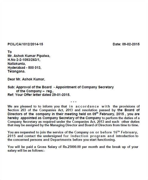 appointment letter of company 51 sle appointment letters
