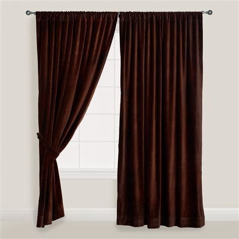 velvet drapes chocolate brown velvet curtain world market
