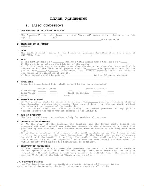 Apartment Rental Agreement Terms And Conditions 7 Easy Lease Agreement Printable Receipt