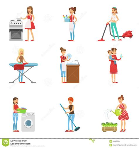 happy modern cleaning and housekeeping performing different household duties stock