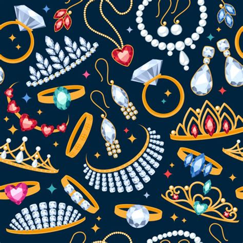 vector pattern jewelery diamond and jewelry pattern seamless vector vector
