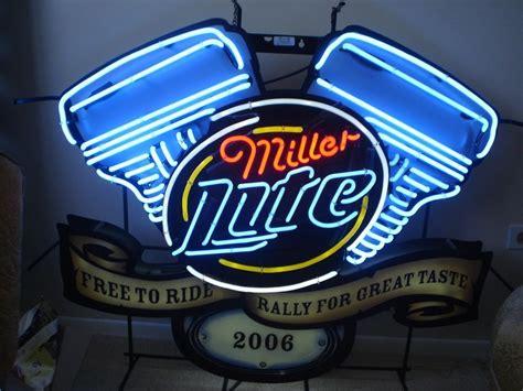 harley davidson neon light miller lite harley davidson motorcycles