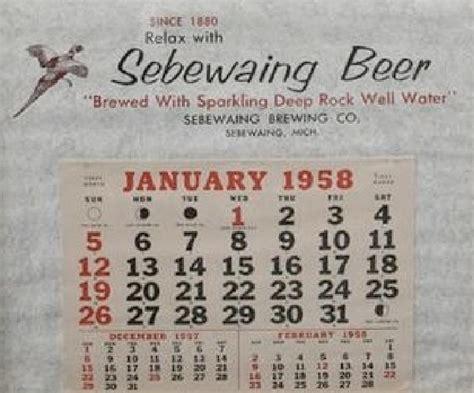 new year january 1958 january 1958 calendar sbrew