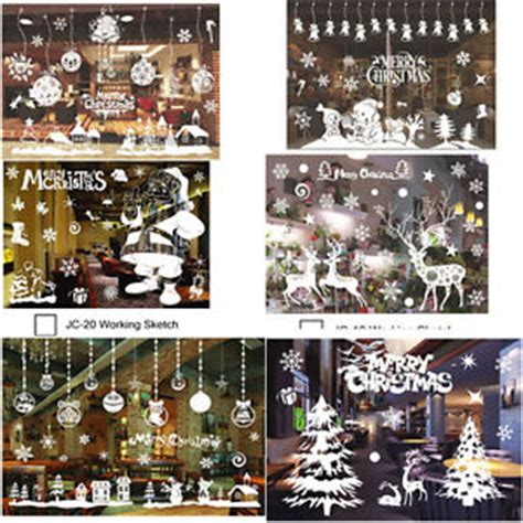 Tree Silhouette Wall Stickers christmas xmas santa removable window stickers art decal