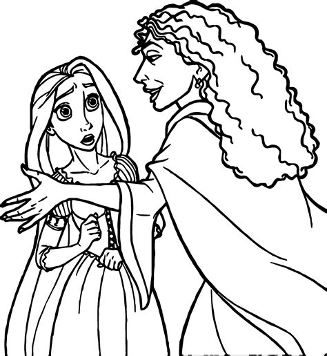 rapunzel and flynn witch coloring page wecoloringpage