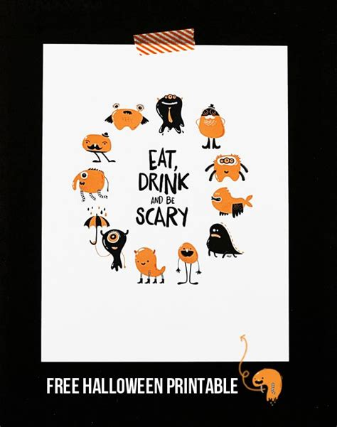 printable halloween decorations scary eat drink and be scary printable live laugh rowe