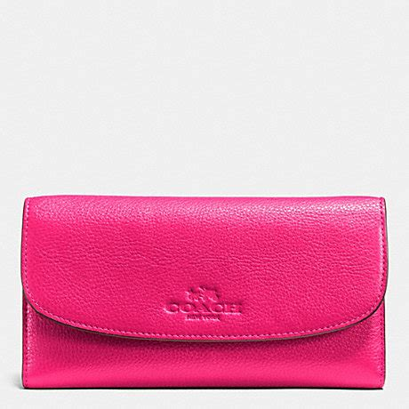 light pink coach wallet checkbook wallet in pebble leather f52715 light gold