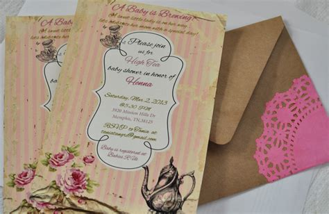 Tea Baby Shower Invitations by Turtlecraftygirl High Tea Baby Shower Invitations
