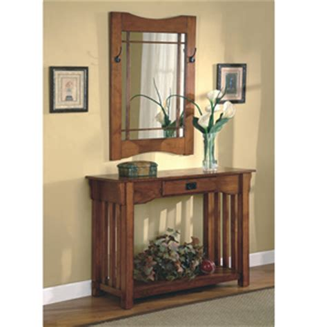 Console Table 2pcs Mission Style Entry Way Foyer Console Mission Style Oak Foyer Furniture