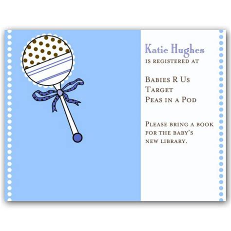Babyshower Registry Card Template The Bump by Baby Shower Rattle Blue Registry Cards Paperstyle