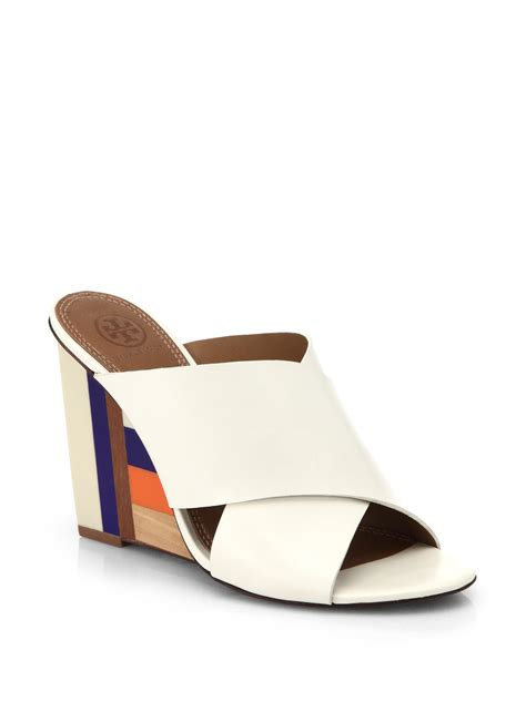 leather mule sandals burch colorblock wooden wedge leather mule sandals lyst