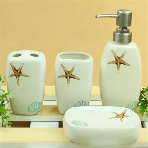 Starfish 4 Pieces Ceramic Bathroom Accessories Set Starfish Bathroom Accessories