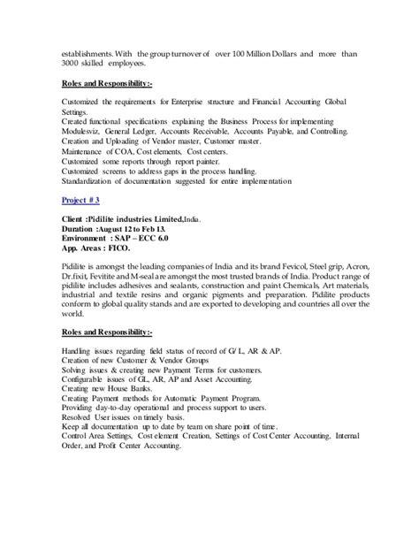 100 sap fico sle resume 3 years experience fresh