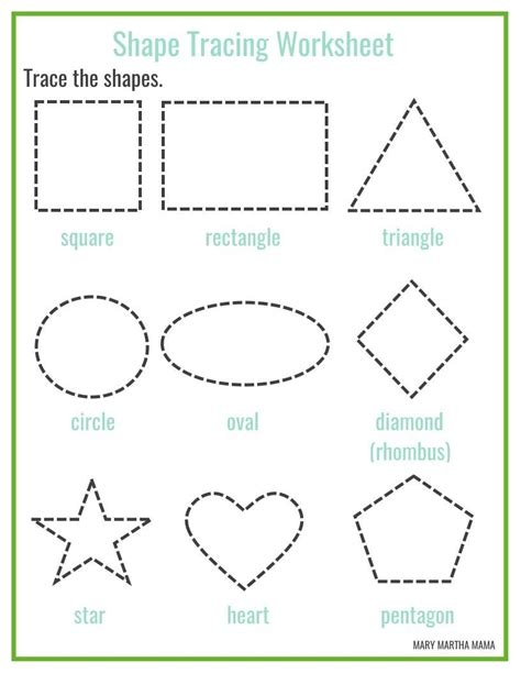 printable shapes crafts free printable shape tracing worksheets kbn learning