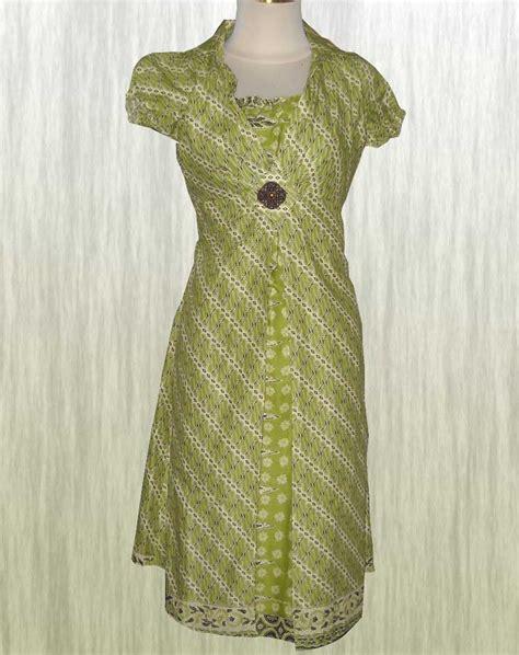 Dress Import Hijau 1 baju batik dress baju terusan modern fashion dominan hijau alam batik indonesia modern