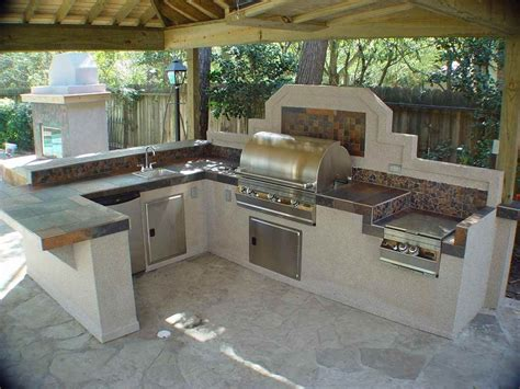 bbq kitchen ideas l shaped bbq island plans white concrete flooring dark