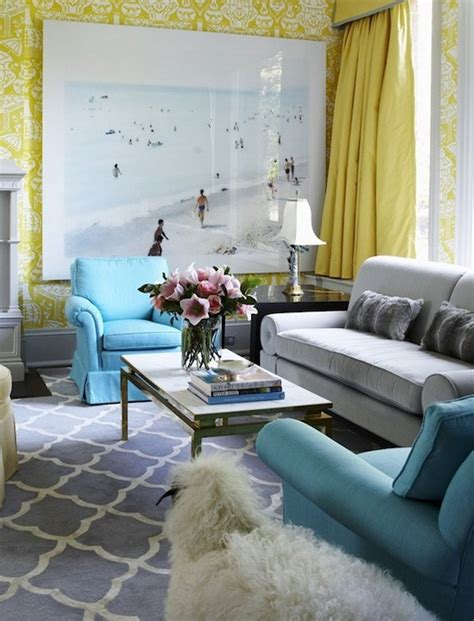 Yellow Blue And Brown Living Room Yellow Drapes Regency Living Room Philip