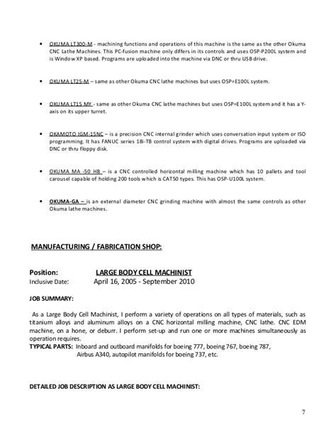Machinist Duties by Machine Operator Description Cv Heavy Equipment Operator Foreman Machine Operator Resume