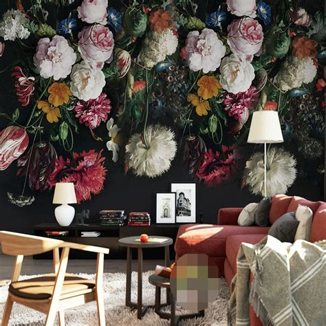 custom any size 3d wall murals wallpaper retro painted floral wall painting living room