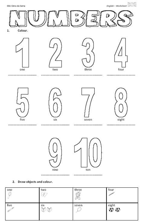 free printable english worksheets numbers numbers worksheet pdf