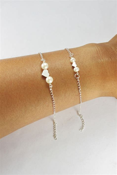 Mother Daughter Heart Pearl Bracelet Set 2 Double Pearl Heart