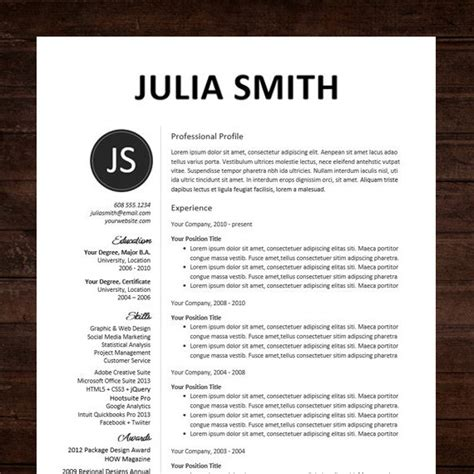 Curriculum Vitae Template Microsoft Word Mac Resume Cv Template Professional Resume Design For Word Mac Or Pc Free Cover Letter Creative